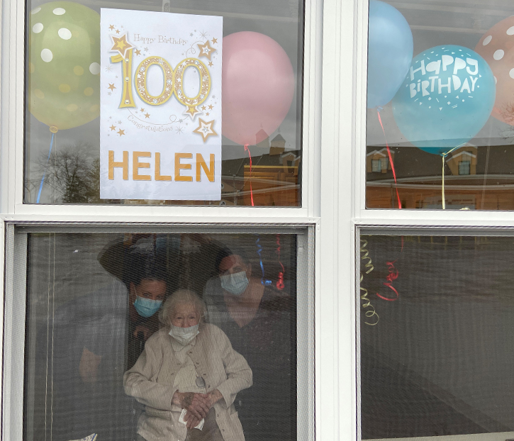 Helen Gallagher 100 Years Birthday viewed through window
