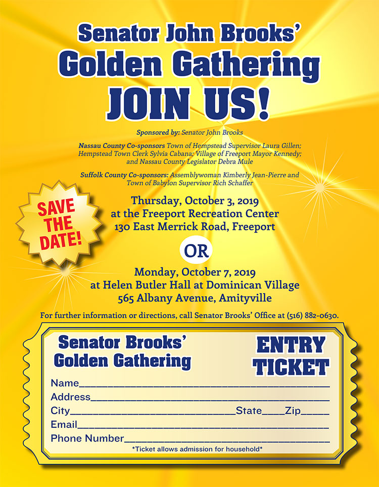 Senator John Brooks Golden Gathering 2019 entry ticket