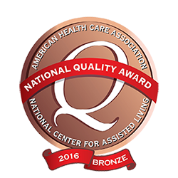 National Quality Award Crest - American Health Care Association and National Center For Assisted Living Award Dominican Village Bronze Award for 2016