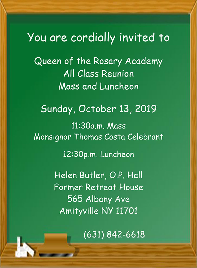 Queen of the Rosary Academy class reunion at Helen Butler Hall