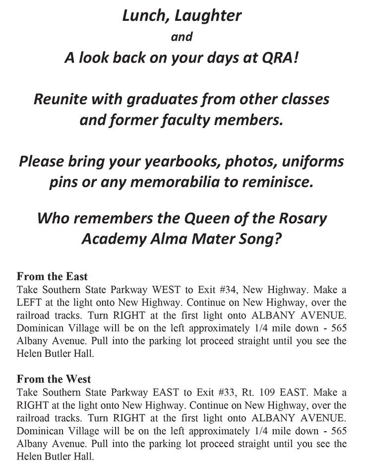 Queen of the Rosary Academy class reunion text and directions at Helen Butler Hall